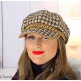 Casquette femme hiver couture laine chainette camel 6610 Accessoires mode femme