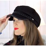 Casquette femme hiver couture chainette cuir noire 6634 Accessoires mode femme