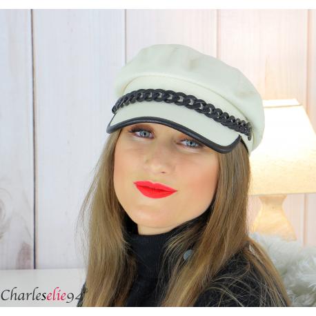 Casquette femme hiver couture chainette cuir écru 6634 Accessoires mode femme