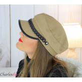 Casquette femme hiver couture chainette cuir taupe 6634 Accessoires mode femme