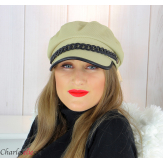 Casquette femme hiver couture chainette cuir kaki 6634 Accessoires mode femme
