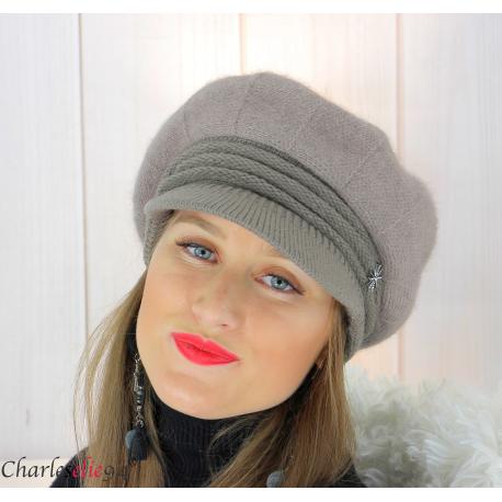 Casquette femme hiver angora laine bijoux taupe 6620 Accessoires mode femme