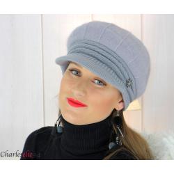 Casquette femme hiver angora laine bijoux lilas 6620 Accessoires mode femme