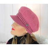 Casquette femme hiver angora laine bijoux framboise 6620 Accessoires mode femme