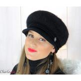 Casquette femme hiver angora laine bijoux noire 6620 Accessoires mode femme