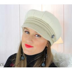 Casquette femme hiver angora laine bijoux écru 6620 Accessoires mode femme