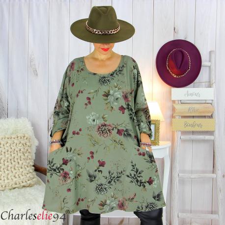 Tunique longue femme grandes tailles fleurie SANSA kaki Tunique femme grande taille