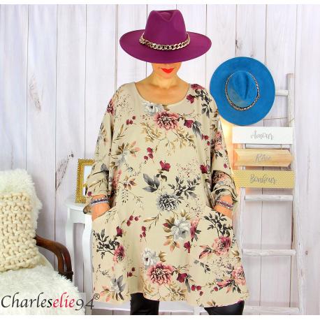 Tunique longue femme grandes tailles fleurie SANSA taupe Tunique femme grande taille