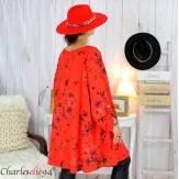 Tunique longue femme grandes tailles fleurie SANSA rouge Tunique femme grande taille