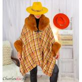 Cape hiver femme grandes tailles laine fourrure NORDIC camel Cape fausse fourrure femme