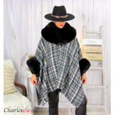 Cape hiver femme grandes tailles laine fourrure NORDIC noire Cape fausse fourrure femme