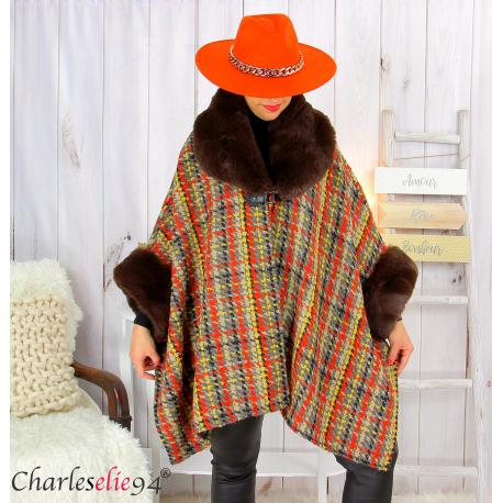 Cape hiver femme grandes tailles laine fourrure NORDIC choco Cape fausse fourrure femme