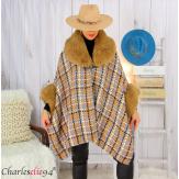Cape hiver femme grandes tailles laine fourrure NORDIC taupe Cape fausse fourrure femme