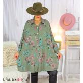Chemise longue femme grande taille coton fleuri SHELLY kaki Chemise femme grande taille