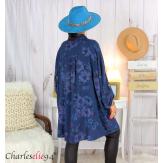 Chemise longue femme grande taille coton fleuri SHELLY bleu marine Chemise femme grande taille