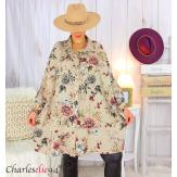 Chemise longue femme grande taille coton fleuri SHELLY beige taupe Chemise femme grande taille