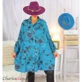 Chemise longue femme grande taille coton fleuri SHELLY canard Chemise femme grande taille