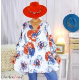 Tunique longue grandes tailles imprimée LEONE blanche Tunique femme grande taille