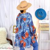 Tunique longue grandes tailles imprimée LEONE bleu jean Tunique femme grande taille