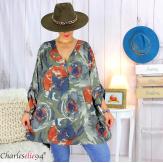 Tunique longue grandes tailles imprimée LEONE kaki Tunique femme grande taille