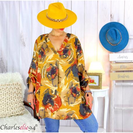 Tunique longue grandes tailles imprimée LEONE moutarde Tunique femme grande taille