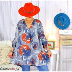 Tunique longue grandes tailles imprimée LEONE gris Tunique femme grande taille