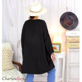 Sweatshirt tunique longue femme grande taille LYV noir Tunique femme grande taille