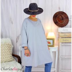 Sweatshirt tunique longue femme grande taille LYV gris clair Tunique femme grande taille