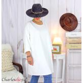 Sweatshirt tunique longue femme grande taille LYV blanc écru Tunique femme grande taille