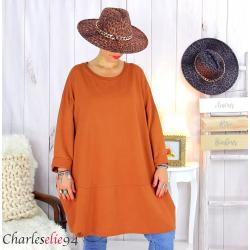 Sweatshirt tunique longue femme grande taille LYV brique Tunique femme grande taille