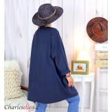 Sweatshirt tunique longue femme grande taille LYV bleu marine Tunique femme grande taille