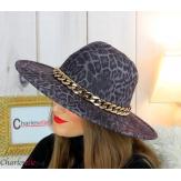 Chapeau femme feutre laine larges bords chaînette hb43 noir léopard Accessoires mode femme