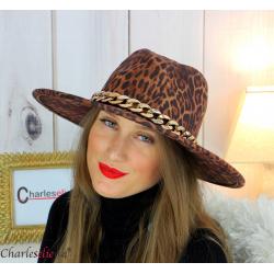 Chapeau femme feutre laine larges bords chaînette hb43 camel léopard Accessoires mode femme