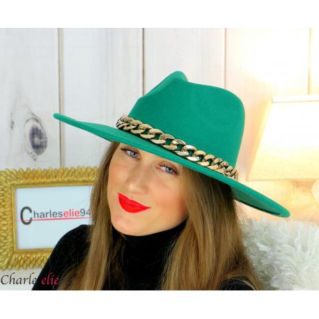 Chapeau femme feutre laine larges bords chaînette hb42 vert Accessoires mode femme