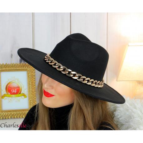 Chapeau femme feutre laine larges bords chaînette hb42 noir Accessoires mode femme