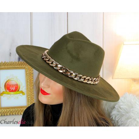 Chapeau femme feutre laine larges bords chaînette hb42 kaki Accessoires mode femme