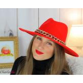 Chapeau femme feutre laine larges bords chaînette hb42 rouge Accessoires mode femme