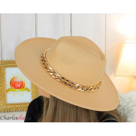 Chapeau femme feutre laine larges bords chaînette hb42 camel Accessoires mode femme