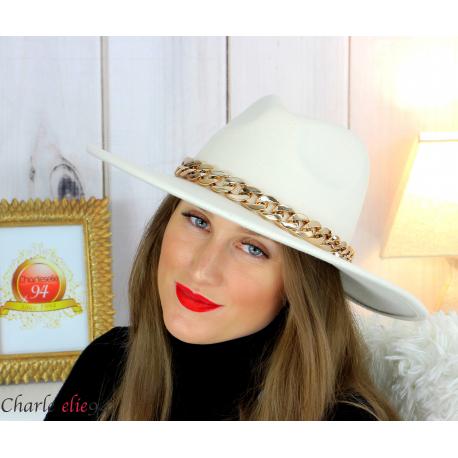 Chapeau femme feutre laine larges bords chaînette hb42 beige Accessoires mode femme