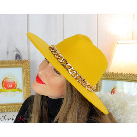 Chapeau femme feutre laine larges bords chaînette hb42 jaune Accessoires mode femme