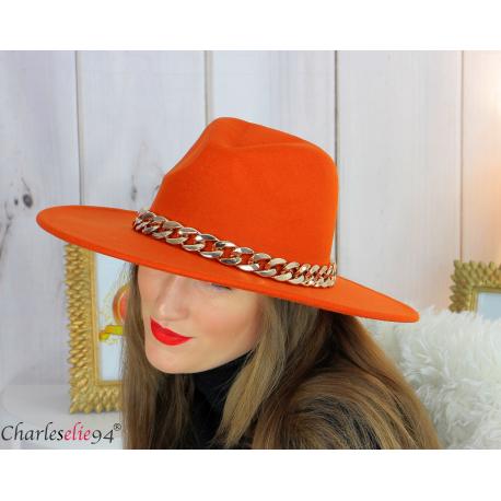 Chapeau femme feutre laine larges bords chaînette hb42 orange Accessoires mode femme