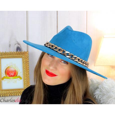 Chapeau femme feutre laine larges bords chaînette hb42 canard Accessoires mode femme