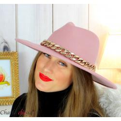 Chapeau femme feutre laine larges bords chaînette hb42 rose Accessoires mode femme