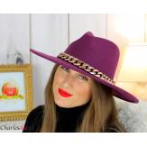 Chapeau femme feutre laine larges bords chaînette hb42 violet Accessoires mode femme