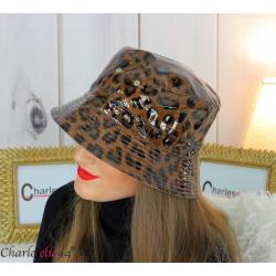 Chapeau de pluie femme vernis imperméable camel HB36 Accessoires mode femme