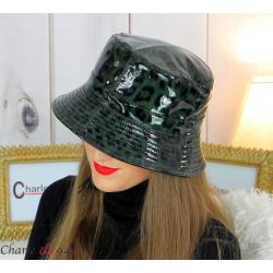 Chapeau de pluie femme vernis imperméable kaki HB36 Accessoires mode femme