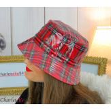 Chapeau de pluie femme vernis imperméable tartan rouge HB37 Accessoires mode femme