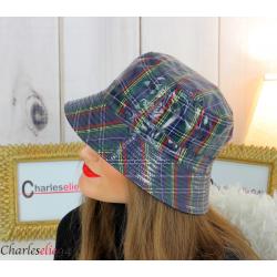 Chapeau de pluie femme vernis imperméable tartan bleu HB37 Accessoires mode femme