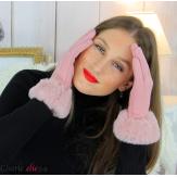 Gants femme hiver tactiles fourrure suédine polaire GT64 rose Accessoires mode femme