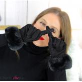 Gants femme hiver tactiles fourrure suédine polaire GT64 noirs Accessoires mode femme